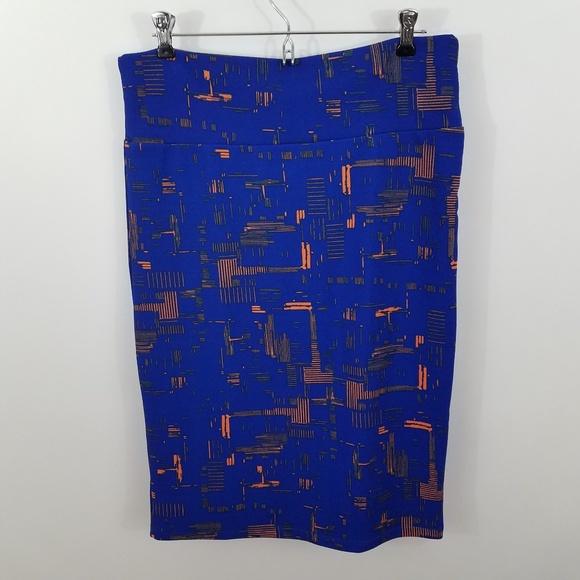 eac95a227f4 LuLaRoe Dresses   Skirts - Lularoe Cassie skirt blue orange L pencil  straight